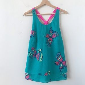 NWT Lily Pulitzer butterfly teal and pink top